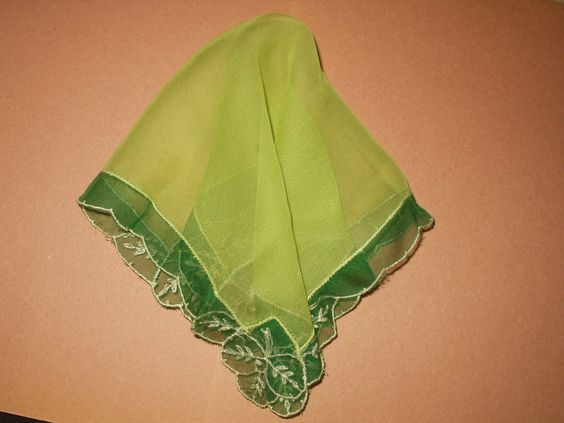 Vintage 1920s Green Silk Chiffon Handkerchief Tambour Needlelace Corners - The Gatherings Antique Vintage