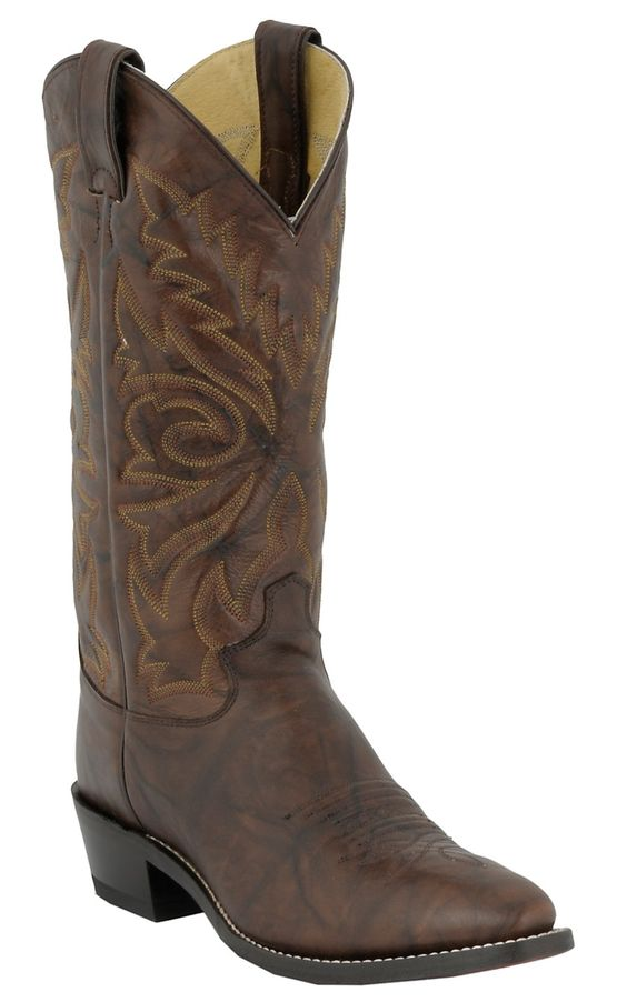 Justin Men's Dark Brown Marbled Deerlite Classic Western Boots ...