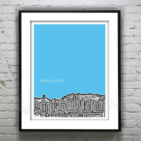 Vancouver BC Poster Print City Skyline Canada Art Print 8 X 10 British Columbia via Etsy