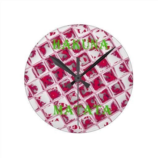 #Estilo #rojo de Hakuna Matata  #Hogar y #mascotas #Relojes De #Pared #Hakuna #Matata clocks