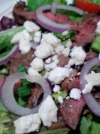 Ginger Streak Salad  2 tbsp soy sauce  1 tbsp sherry (cooking sherry or reg)  2 garlic cloves, minced  2 tbsp brown sugar  1 rib-eye or strip steak  2 tbsp olive oil  Mixed salad greens  2 green onions, sliced  2 tbsp dressing  2 tbsp olive oil  2 tbsp soy sauce  1 tbsp sugar ............  Click Here for complete recipe:  http://www.q99fm.com/BreakfastClub/FDT2014.aspx
