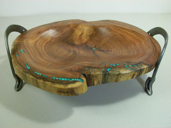 Mesquite Bowl with Turquoise Inlay and Recycled by XXRanchArt, $135.00