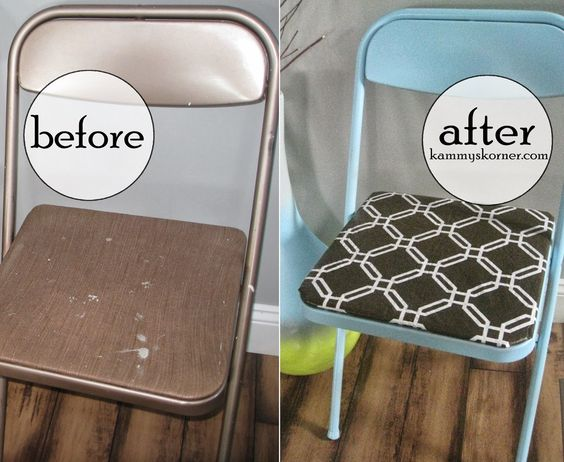 Old folding chairs spray painted and recovered with laminate table clothes (the plastic coated ones that can be wiped clean)