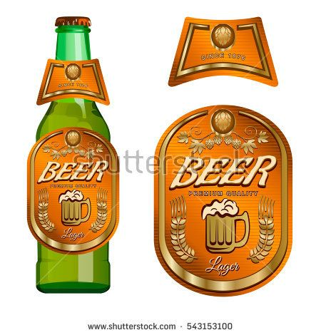 Beer label template with neck label Vector Illustration - labeltemplate