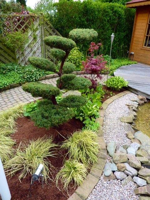japanischer-garten-teich-undskulpturen-japanischer-stil | japan, Garten und Bauen