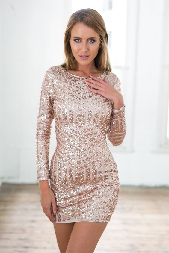 Rose Gold Sequin Long Sleeve Dress w/ Open Back - Sleeve- Sleeve ...