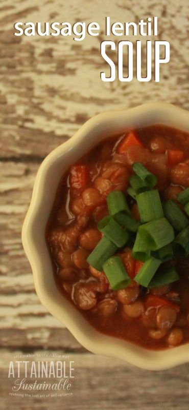 This hearty sausage lentil soup recipe comes together quickly and uses ingredients that you likely already have on hand. It's one of our favorite wintertime healthy meals and great for an easy group dinner.
