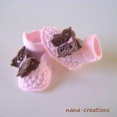 Chaussons,babies bébé,laine,fait main,rose ,0/3 mois