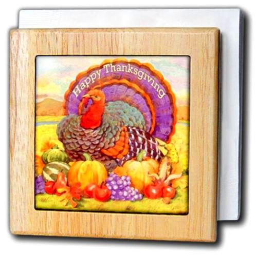 Happy-Thanksgiving-Tile-Napkin-Holder-6-inch-ORIGINAL-turkey-pilgrim-table-new