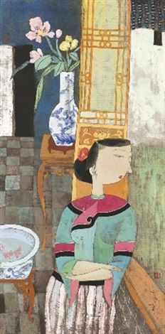 LEANING AGAINST THE WINDOW, Hu Yongkai (male, 胡永凯; b1945, Beijing)