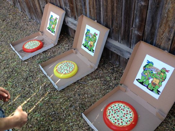 My sons ninja turtle birthday party! Pizza tossing game