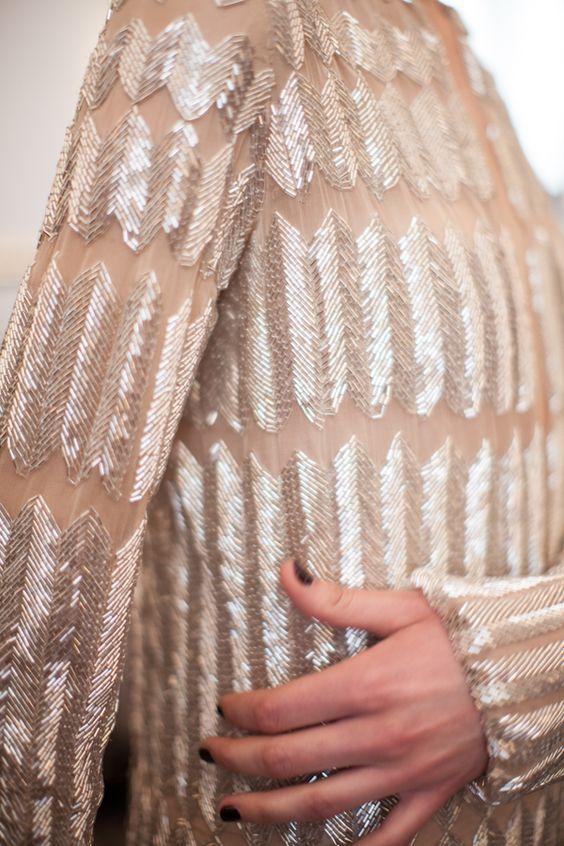 Chevron Beading - sheer beaded dress - couture embellishments; closeup fashion details