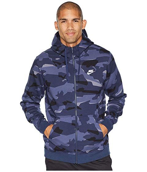 NIKE NSW Club Camo Hoodie Full Zip BB, MIDNIGHT NAVY