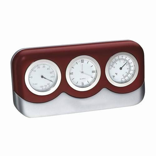 Weather Station Barometer Thermometer Hygrometer Silver Dials Wood Mount Gift