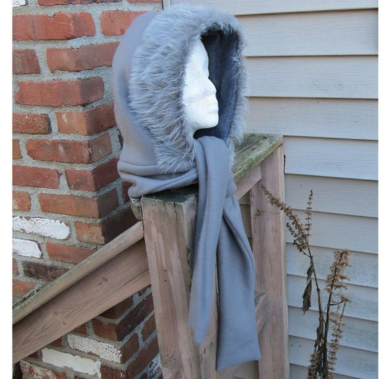 "ETSY Gray Fleece Hooded Scarf with  3 inch border of super-soft fake fur scarf is 58"" long ShepherdsBrookStudio"