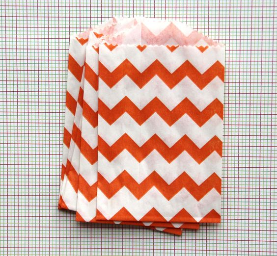 15 Orange Chevron Bitty Bags (Treat Bags, Favor Bags, Gift Wrap, Envelopes) - 2.75 x 4 inches. $3.25, via Etsy.