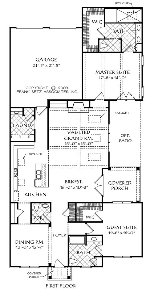 White oak home plans and house plans by frank betz for Frank betz floor plans