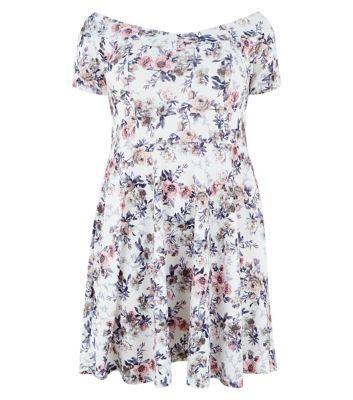 New Look Plus Size White Floral Print Bardot Neck Dress #dress #women #covetme