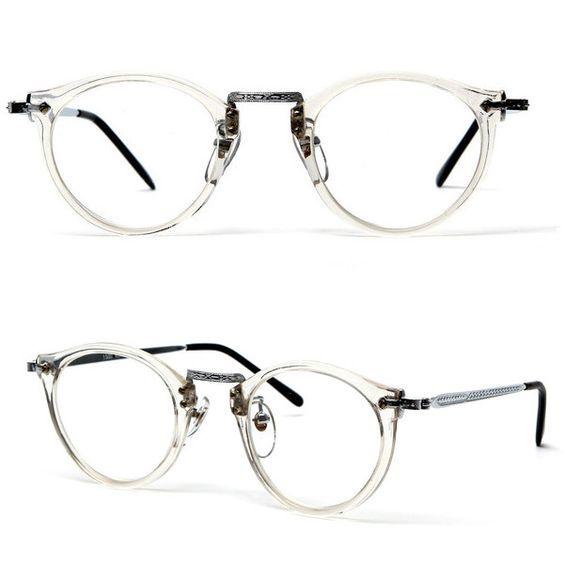 80s James Keyhole Round Frame Wayfarer Clear glasses: