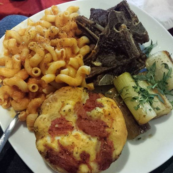 Pasta with vodka sauce, braised leeks , lamb chops and foccacia bread!!!