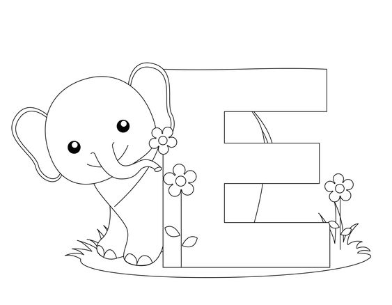 Preschool Worksheets to Print | Animal Alphabet: Letter E Coloring ...