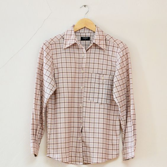 Vintage Cream Brown Plaid Checked Flannel Button Shirt Small Medium £17.50 available at www.vagabondsvintage.com