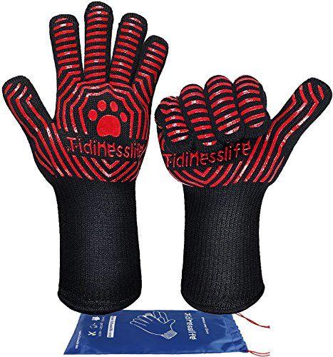 Grillhandschuhe BBQ Handschuhe extrem hitzebeständige Ofenhandschuhe Red