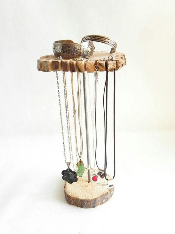 Présentoirà bijoux, rangementà bijoux, présentoirà colliers en bois naturel pour 24 colliers  # Bijoux En Bois Pour Femme