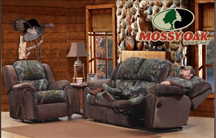 Littleton Camo Reclining Sofa And Rocker Recliner With
