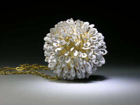 Pendant   Jacqueline Ryan.  'Blooms' 1996.  18ct gold and vitreous enamel