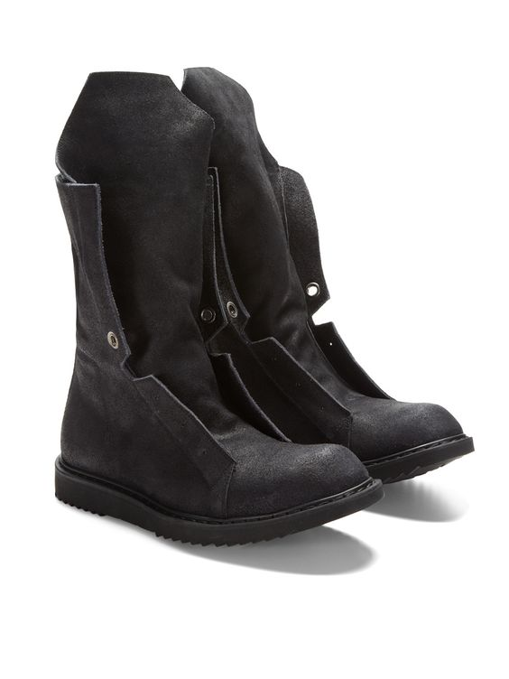 Extended Tongue Distressed Suede Boots by Rick Owens   Un