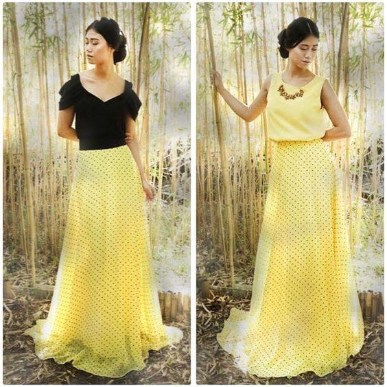 Una falda y dos maneras de combinarlas. ¿Que combinación te gusta más?Nosotras ya tenemos la nuestra Verhttp://www.apparentia.com/nuestras-marcas/arimoka/ficha/2691/falda-topos-amarilla-maxima/ #faldasmaxi #faldasfiesta #boda #arimoka #invitadasconestilo  #shoponline #fiesta #apparentia #modaespañola