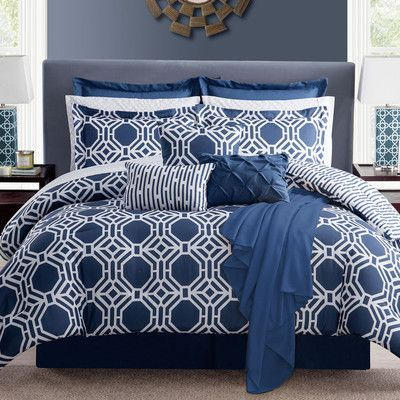 Luxury Home Milford 16 Piece Comforter Set Size: Full / Queen, Color: Blue