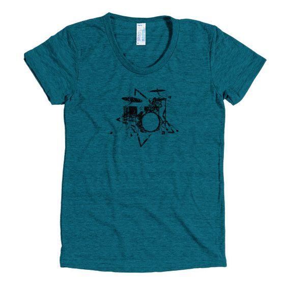 'Drum Star' - black ink t-shirt (Ladies)