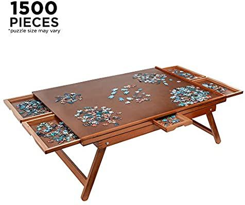 Amazon Com Jumbl Puzzle Board Rack 27 X 35 Wooden Jigsaw Puzzle Table W 6 Storage Sorting Drawer Puzzle Table Jigsaw Puzzle Table Wooden Jigsaw Puzzles