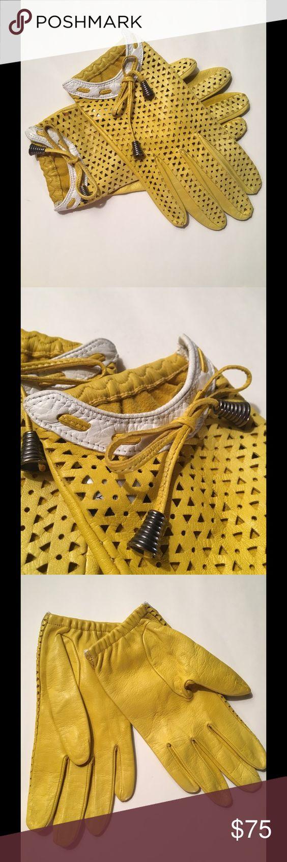 Yellow leather driving gloves - Sermoneta Leather Ladies Driving Gloves Adorable Sermoneta Ladies Leather Driving Gloves In Bright Fun Yellow