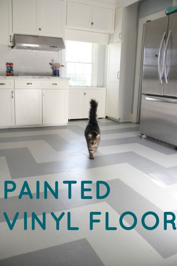 Incredible Makeover!!! Painted Vinyl Kitchen Floor!!!