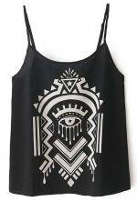 Black+Spaghetti+Strap+Abstract+Pattern+Vest+US$21.15