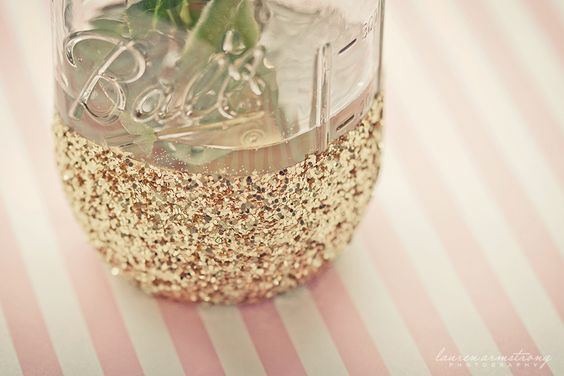 Glitter-dipped #masonjars - the perfect centerpiece for any shower or party!