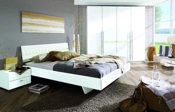 Kawoo - Schlafzimmerkombination mit tollen Details, bestehend aus: Bettgestell, Liegefläche ca. 180 x 200 cm - zwei Nachtschränke - 4-türiger Kleiderschrank -  Produktnummer: 698251-035-10-200