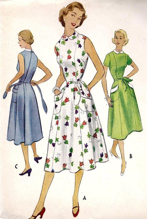 1950s Misses' Back Wrap Around Dress