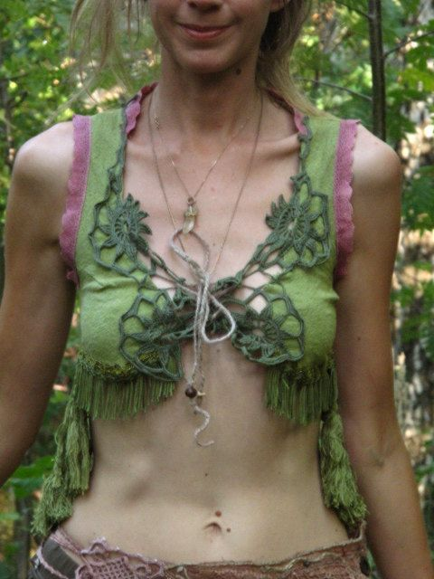 Forest faerie green hippie boho vest with long by FractalWings