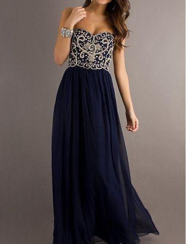 Cheap A line Navy Blue Sweetheart Chiffon Floor Length Long Prom Dress, Long Evening Dresses, Formal Dresses