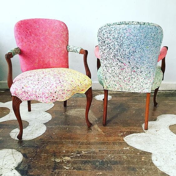 We #reupholstered this pair of Louis xv chairs in @flatvernacular #dondi -- part of their spring 2016 collection The Heavens. For sale exclusively though their website!