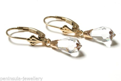 9ct-Gold-Swarovski-Crystal-Elements-LeverBack-Earrings-Boxed-MADE-in-UK