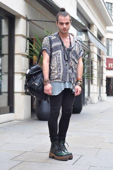 grunge and print wgta spsf  men's street style