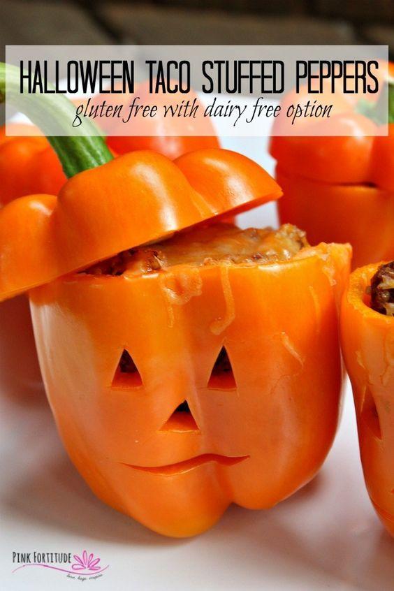 Halloween Taco Stuffed Peppers