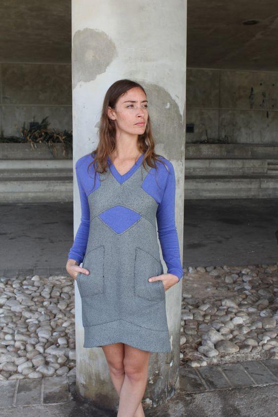 ON SALE! Color - block dress with pockets / Gray casuan Dress/ Raglan Sleeve Dress/ V- neck Dress / SportyTrend Dress/  Tangens / Vegan