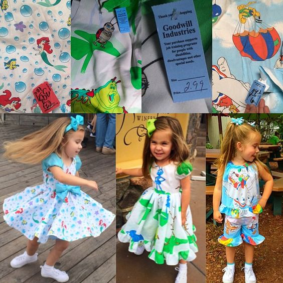 Some more before and after pics of 3 of my newer Disney Upcycled outfits. They were all made from bed sheets from thrift stores (each for under $4) and there is still plenty material left of each sheet to make another outfit. (Scraps from my Cinderella dress were used to make the sleeves and bows to the Little Mermaid dress) and Mommy salvages zippers and other notions from other dresses she takes apart for material to try to recycle everything and keep my dress costs down.)