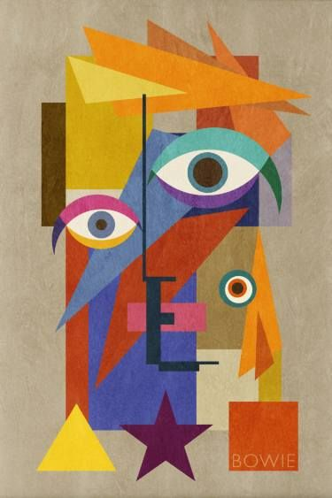"""Saatchi Art Artist Jack Smith; Collage, """"Bowie Bauhaus FOUR, David Bowie Portrait, 2016), XLarge Unique Monoprint 1/1"""" #art"""